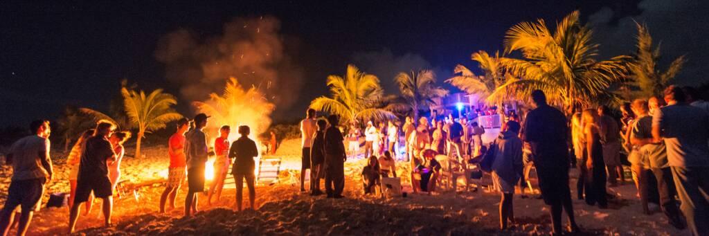 beach bonfire party at Long Bay Beach