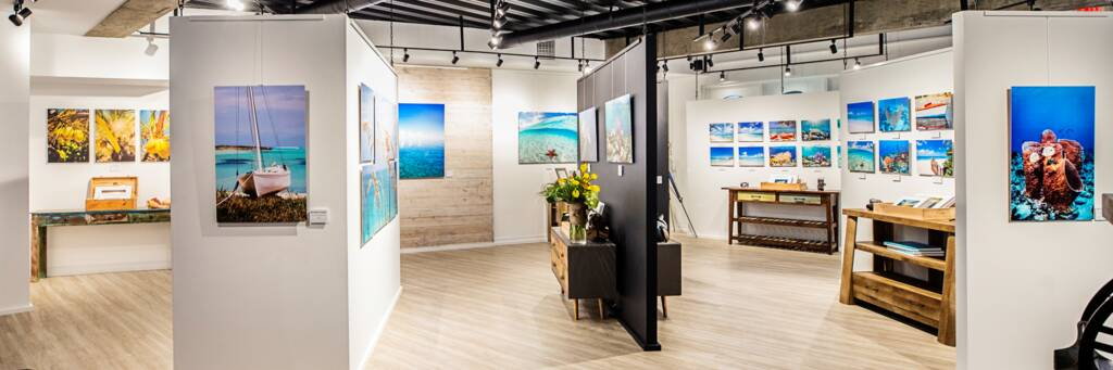 prints at the Brilliant Studios gallery in Grace Bay