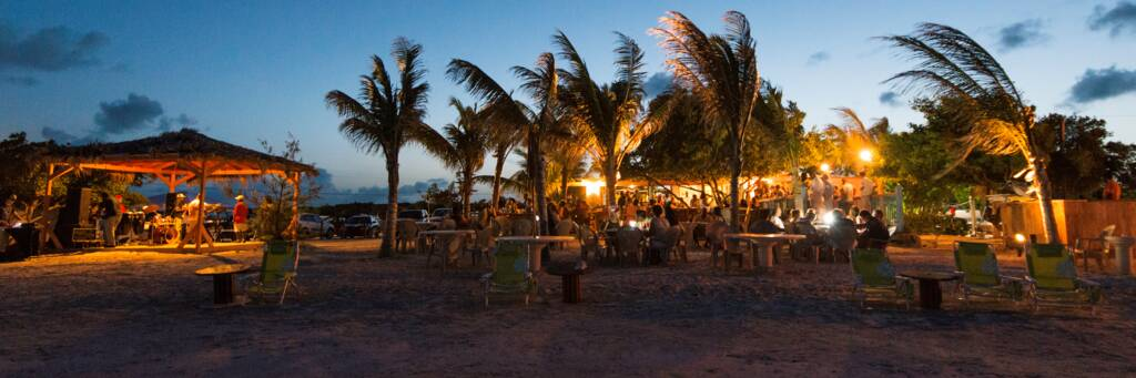 Bugaloo's Restaurant on the beach at Five Cays at dusk