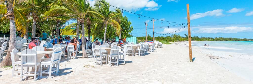 Bugaloo's Conch Crawl restaurant on Five Cays Beach in the Turks and Caicos