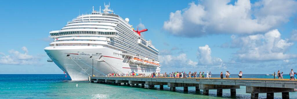 Carnival Breeze cruise ship docked at the pier at the Grand Turk Cruise Center