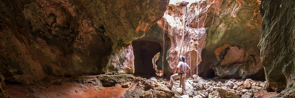 open gallery and Karst features in the caves of East Caicos