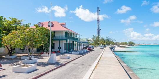 Front Street and the beach at Cockburn Town on Grand Turk