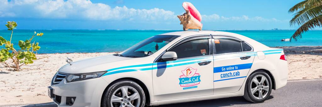 Conch Cab taxi at Blue Hills Beach in the Turks and Caicos