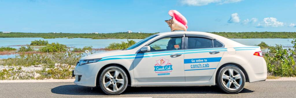 the ride hailing Conch Cab service in the Turks and Caicos