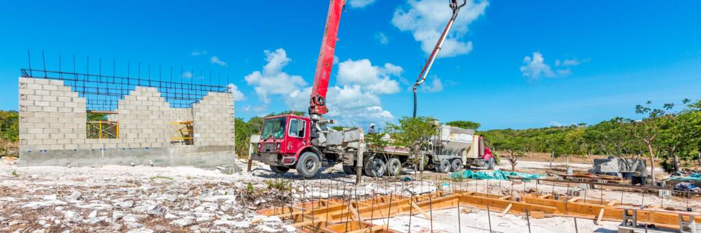 concrete pump and truck in the Turks and Caicos