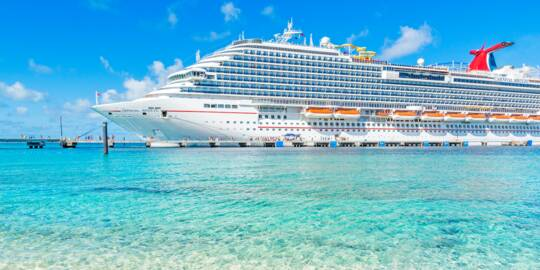 cruise ship and pier of the Grand Turk Cruise Center in the turquoise waters of Grand Turk