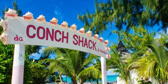 sign and entrance for Da Conch Shack in Blue Hills