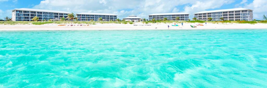 the turquoise water and beach at the East Bay Resort on South Caicos