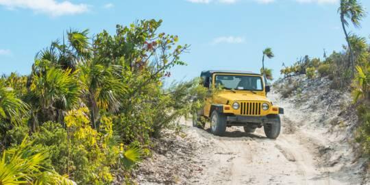 rental Jeep Wrangler on South Caicos.