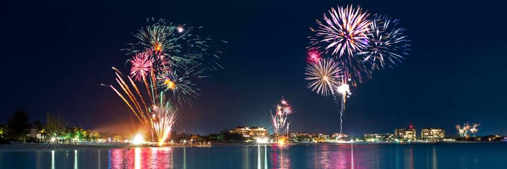 fireworks over Grace Bay