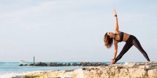 fitness exercises at Leeward Beach at sunset