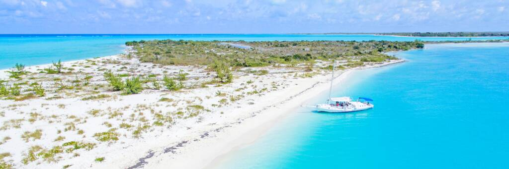 sailboat charter at Fort George Cay beach in the Turks and Caicos