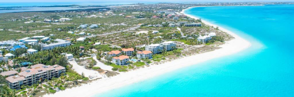 aerial view of Grace Bay in the Turks and Caicos
