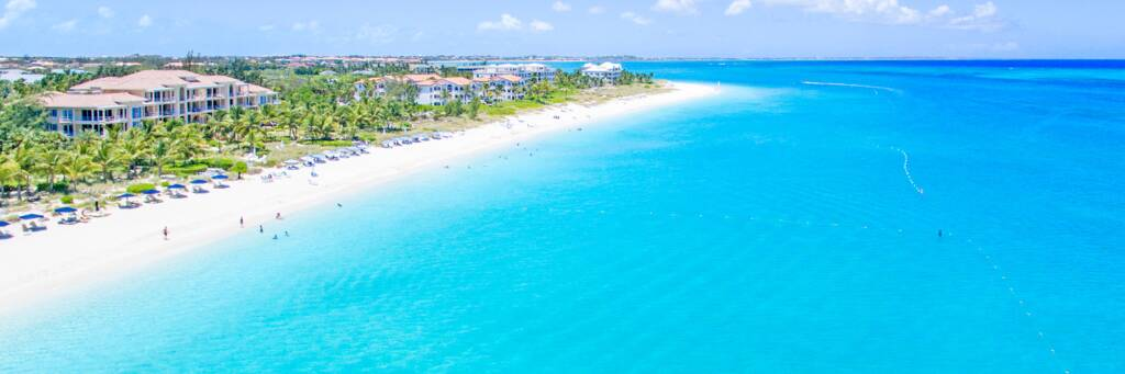 quiet beach and luxury resorts on Grace Bay