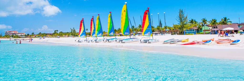 Hobie Cat sailboats and the calm Grace Bay Beach at Club Med