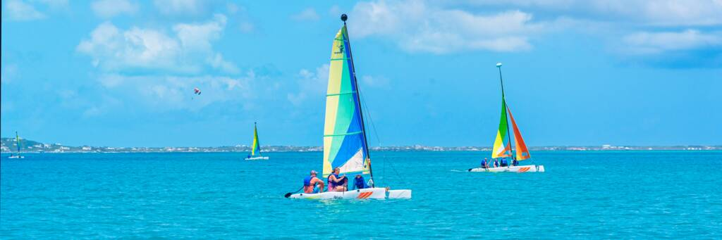 small sailboats in Grace Bay, Turks and Caicos.