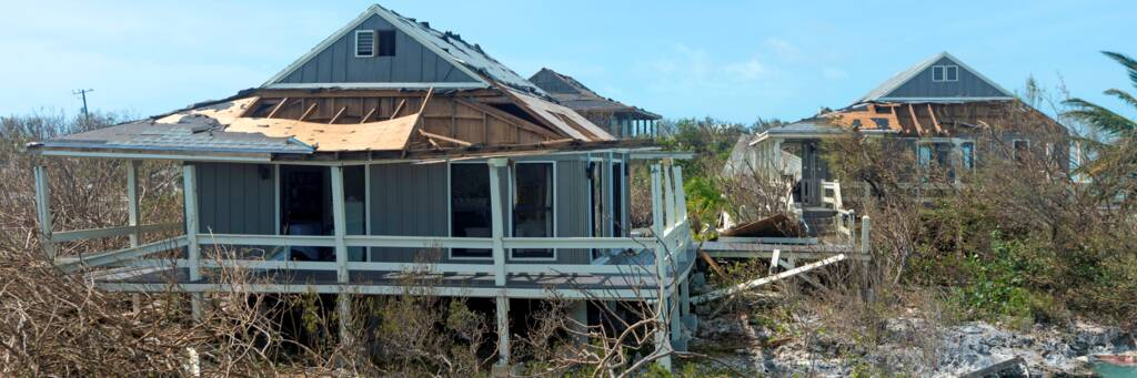 homes destroyed by Hurricane Irma at Chalk Sound in the Turks and Caicos