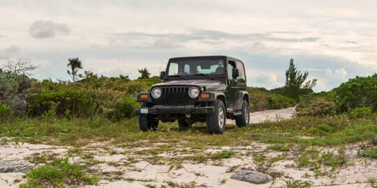 exploring the coastal roads of North Caicos with a Jeep Wrangler