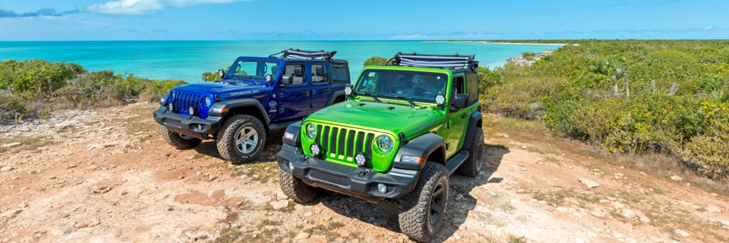 Jeeps Wranglers off road in the Turks and Caicos