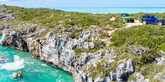 Jeep Wranglers off road in the Turks and Caicos