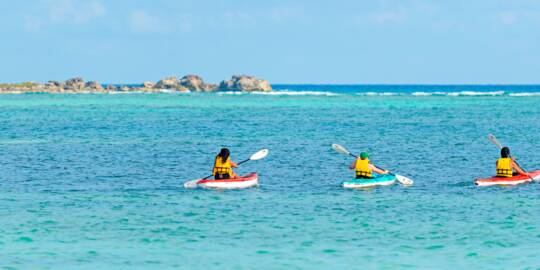 kayaks at East Bay Beach on South Caicos