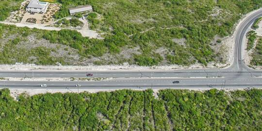 aerial photo of Leeward Highway and Pratts Road on Providenciales