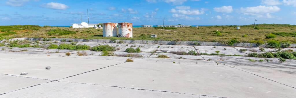 the concrete water catchment area at the abandoned U.S. Coast Guard South Caicos LORAN station