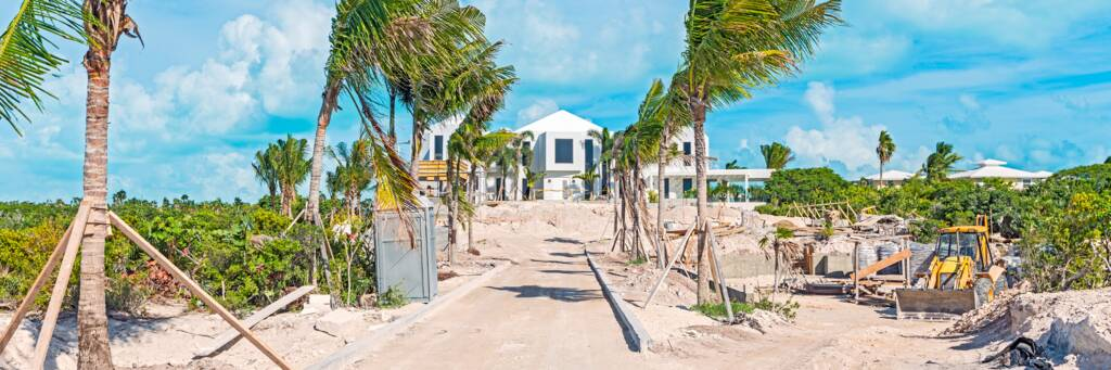 luxury beachfront mansion under construction at Long Bay Beach in the Turks and Caicos