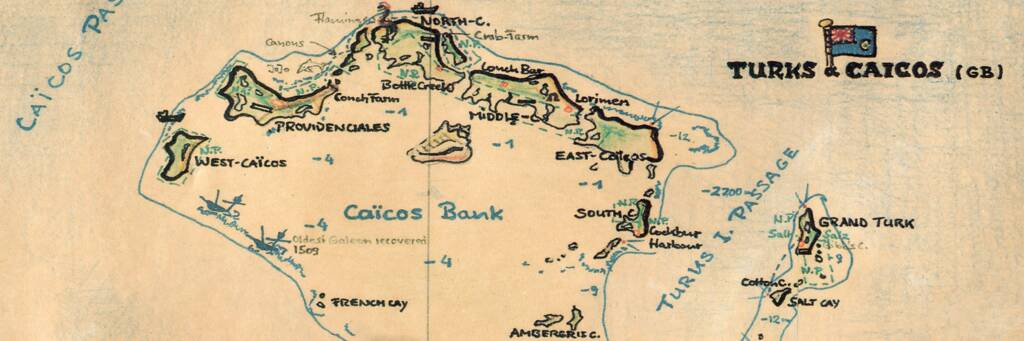 Map of the Turks and Caicos Islands. Copyright 1993 by Heinz Meder.