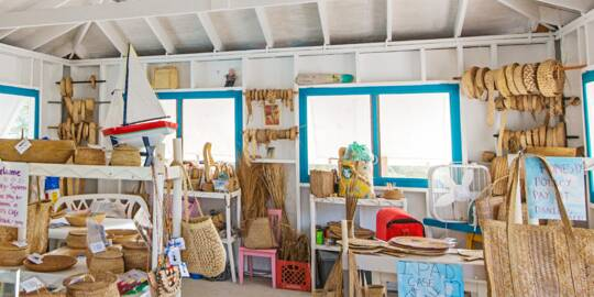 the interior of the Middle Caicos Co-op shop at Conch Bar Village