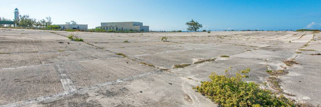 the massive concrete rainwater catchment field at the Grand Turk U.S. Navy NAVFAC base