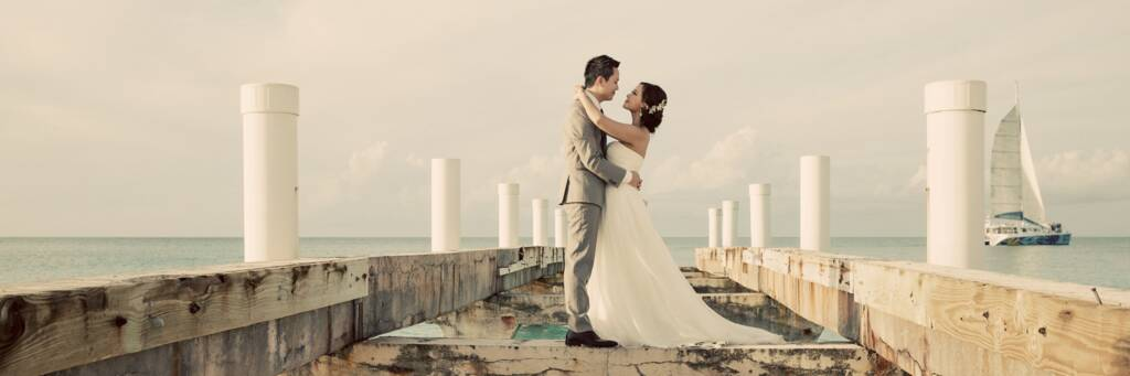 wedding couple at Grace Bay Beach