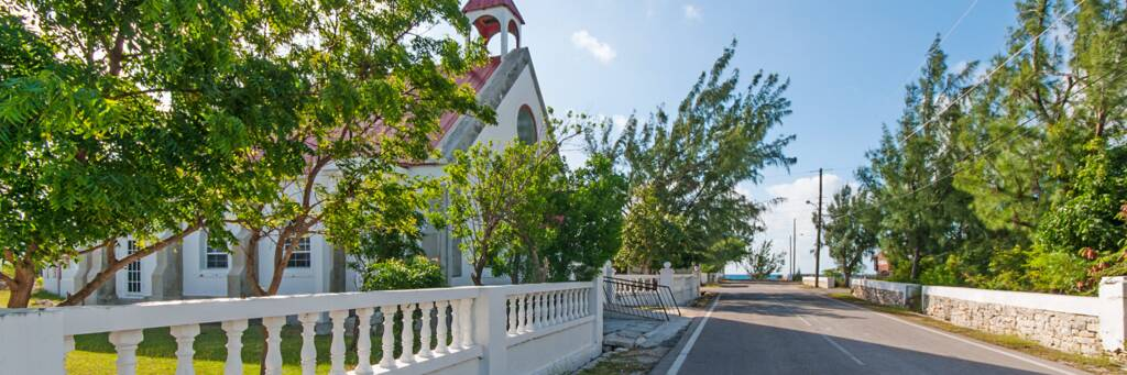 church on the quiet streets in Cockburn Harbour on South Caicos