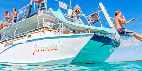 boat with slide in the Turks and Caicos