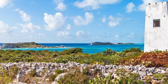 the old light tower at Tucker Hill on South Caicos overlooking Long Cay