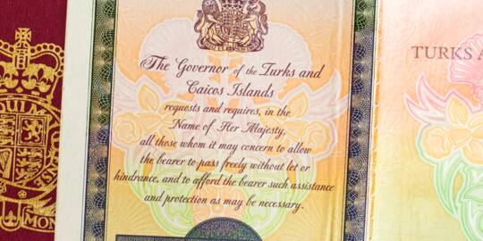 the cover and inside leaf of a Turks and Caicos passport