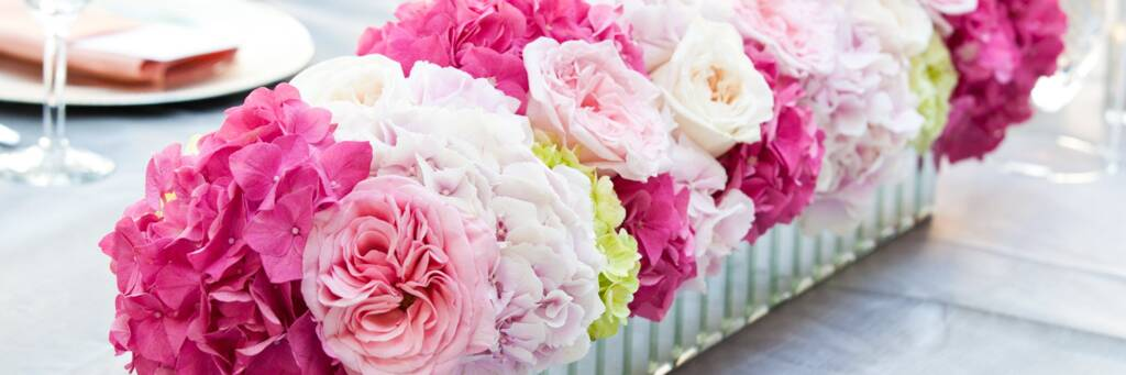 pink wedding flower arrangement