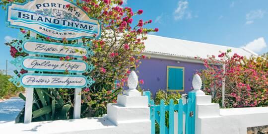 the entrance to Porter's Island Thyme Restaurant on Salt Cay