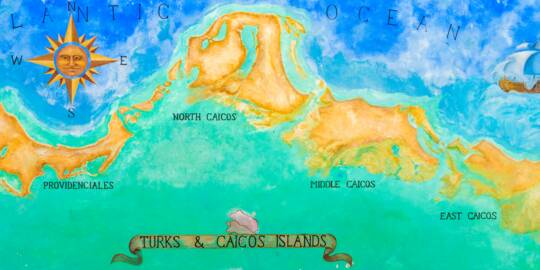 the large wall map of the Turks and Caicos at Ports of Call in Grace Bay