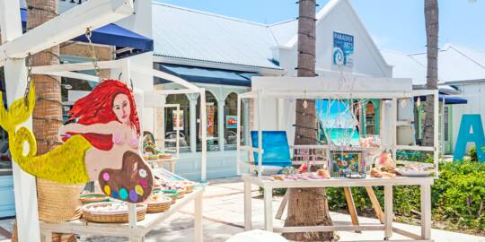 outdoor artwork at the Saltmills Plaza in Grace Bay
