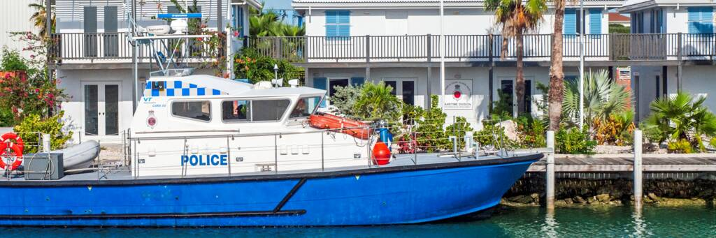 Royal Turks and Caicos Police patrol vessel at Caicos Marina