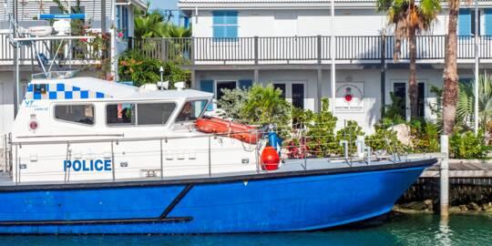 Royal Turks and Caicos Police patrol vessel at Caicos Marina