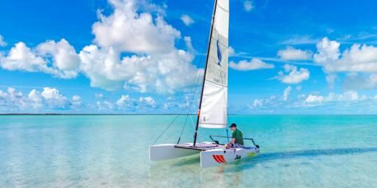 Hobie Cat sailboat at Bell Sound near South Caicos