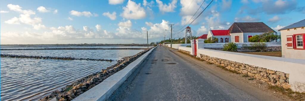 the salinas and Victoria Street at Balfour Town on Salt Cay