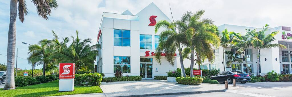 the Scotiabank building in Grace Bay