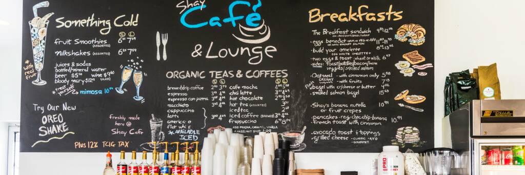 Coffee menu at Shay Café.