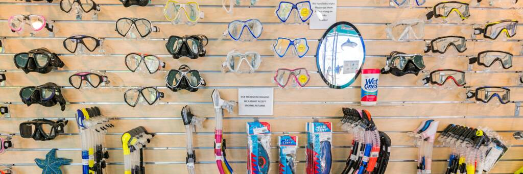 selection of snorkel masks for sale at the Dive Provo shop in Grace Bay