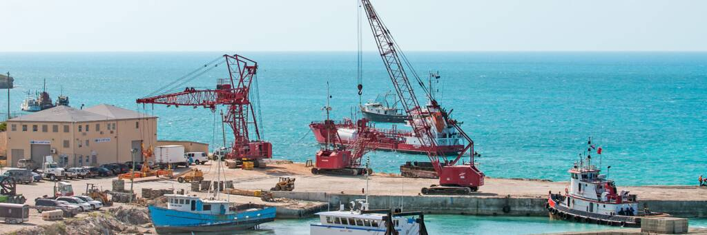 cranes and shipping containers at South Dock on Providenciales