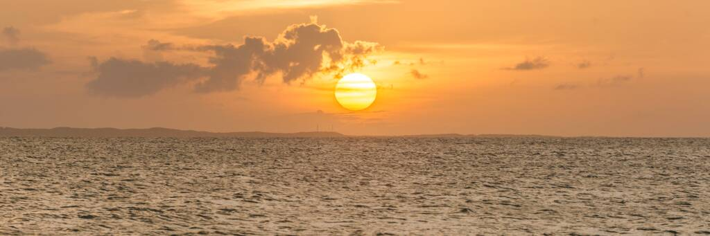 sunset over Blue Hills and Providenciales in the Turks and Caicos